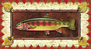 Trout Metal Prints - Golden Trout Lodge Metal Print by JQ Licensing