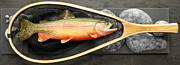 Catch Sculpture Posters - Golden Trout River Slice Poster by Eric Knowlton