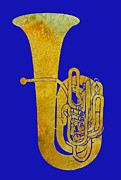 Jazz Band Art - Golden Tuba by Jenny Armitage