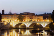 Amedeo Photo Framed Prints - Golden twilight on the blond Tiber Framed Print by Fabrizio Ruggeri