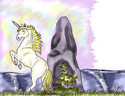 Extinct And Mythical Digital Art Originals - Golden Unicorn by the Sea by Sarah Reed