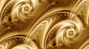 Wave Mixed Media Metal Prints - Golden Waves Metal Print by Anastasiya Malakhova