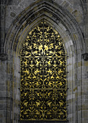 Grille Prints - Golden Window - St Vitus Cathedral Prague Print by Christine Till
