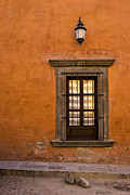 San Miguel De Allende Framed Prints - Golden Window Mexico Framed Print by Carol Leigh