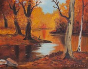 Original Fall Landscape Paintings - Golden Woods by Frank Strasser