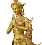 Religious Angel Art Prints - Goldent Ginnaree statue art Print by Anek Suwannaphoom