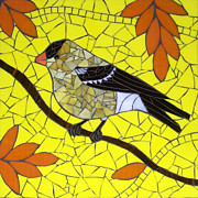 Yellow Glass Art Framed Prints - Goldfinch Framed Print by Barbara Benson Keith