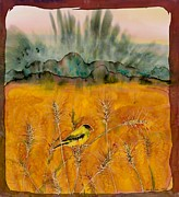 Animals Tapestries - Textiles Metal Prints - Goldfinch in the wheat Metal Print by Carolyn Doe