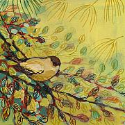 Wildlife Painting Posters - Goldfinch Waiting Poster by Jennifer Lommers