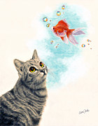 Realism Mixed Media Posters - Goldfish Dreams Poster by Callie Fink