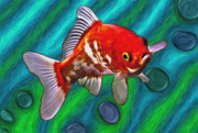 Hawkins Mixed Media - Goldfish by Eastern Sierra Gallery