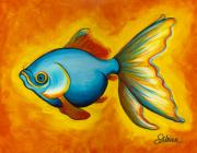 Animals Tapestries Textiles Originals - Goldfish by Sabina Espinet