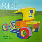 Ford Model T Car Painting Posters - Goldie Model T Poster by Evie Cook