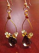 Gold-filled Jewelry - Goldie Smoky Topaz And Green Garnet Earrings by MIchelle LaCoille