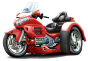 Goldwing Framed Prints - Goldwing Red Trike Framed Print by Maddmax