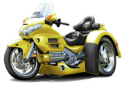 Goldwing Framed Prints - Goldwing Yellow Trike Framed Print by Maddmax