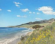 Waves Paintings - Goleta Coast by James Robertson