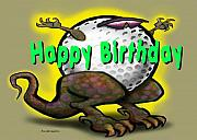 Golf A Saurus Birthday Print by Kevin Middleton