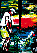 Sports Art Mixed Media Posters - Golf And Palm Trees Poster by Gerald Herrmann