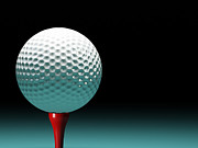 Sports Equipment Posters - Golf Ball Poster by Gualtiero Boffi