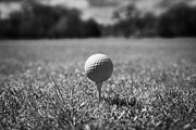 Anticipation Photos - Golf Ball On The Tee by Joe Fox