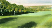 Golf Pastels Posters - Golf Course 1 Poster by Paul Mitchell