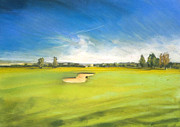 Golf Pastels Posters - Golf Course 2 Poster by Paul Mitchell