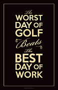 Sports Digital Art Metal Prints - Golf Day Quote Metal Print by Mark Brown