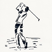 Tiger Woods Drawings - Golf I by Winifred Kumpf