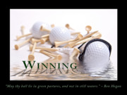 Glove Posters - Golf Motivational Poster Poster by Tom Mc Nemar