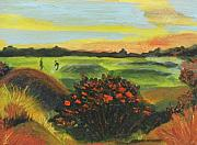 Golf Ball Painting Originals - Golf on a Beautiful Course of Course by Anne-Elizabeth Whiteway