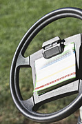 Cart Driving Posters - Golf Scoring Card on Golf Cart Steering Wheel Poster by Jetta Productions, Inc