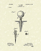 Golf Drawings Metal Prints - Golf Tee 1899 Grant Patent Art Metal Print by Prior Art Design