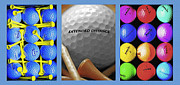 Pastime Mixed Media Posters - Golf Themed Triptych Poster by Steve Ohlsen