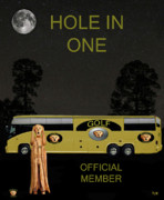 World Champions Mixed Media Framed Prints - Golf World Tour Scream Tour Bus Hole In One Framed Print by Eric Kempson