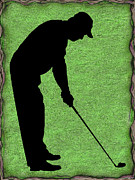 Susan Leggett Digital Art Acrylic Prints - Golfer on Green Acrylic Print by Susan Leggett