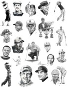 Celebrities Drawings Posters - Golfers Poster by Murphy Elliott