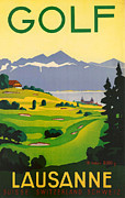 Suisse Framed Prints - Golfing in Lausanne Framed Print by Nomad Art And  Design