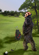Playing Golf Prints - Golfing terrier Print by Gina Femrite