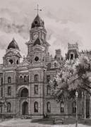 Texas Drawings - Goliad County Courthouse by Karen Boudreaux