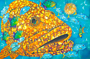 Water Grouper Print Metal Prints - Goliath Metal Print by Daniel Jean-Baptiste