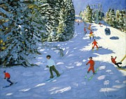 Skiing Paintings - Gondola Austrian Alps by Andrew macara