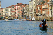 Venice Waterway Posters - Gondola on Grand Canal Poster by Sami Sarkis