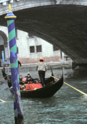 Gondolier Framed Prints - Gondola under the Rialto Bridge Framed Print by L S Keely