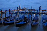 Gondolas Framed Prints - Gondolas at dusk in Venice Framed Print by Ayhan Altun