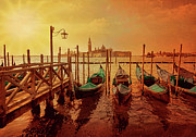 Italian Sunset Posters - Gondolas At Sunset Poster by Photo Art by Mandy