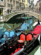 Gondola Digital Art Prints - Gondolas Fresco  Print by Mindy Newman