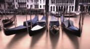 Gondola Ride Prints - Gondolas In The Grand Canal At Sunset Print by Carson Ganci
