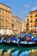 Canal Acrylic Prints - Gondolas in the Square Acrylic Print by Peter Tellone