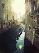 Lens Flare Prints - Gondolas In Venice Against Sun Print by Marco Misuri